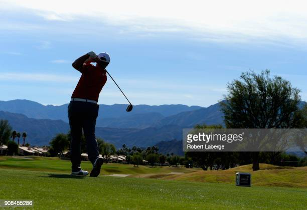 Jon Rahm of Spain plays his shot from the eighth tee during the final round of the CareerBuilder Challenge at the TPC Stadium Course at PGA West on...