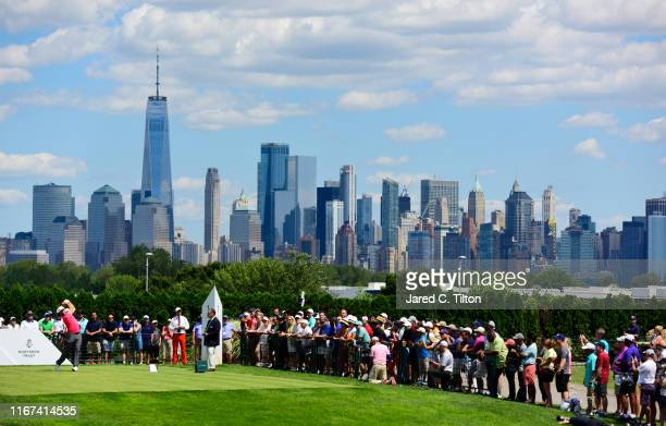 Jon Rahm of Spain plays his shot from the first tee during the final round of The Northern Trust at Liberty National Golf Club on August 11, 2019 in...