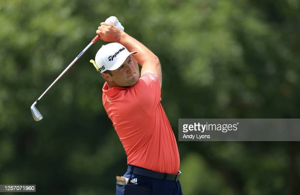 Jon Rahm of Spain plays his shot from the first tee during the final round of The Memorial Tournament on July 19 2020 at Muirfield Village Golf Club...