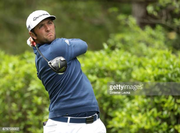 Jon Rahm of Spain plays his shot from the fourth tee during round three of the Wells Fargo Championship at Eagle Point Golf Club on May 6 2017 in...
