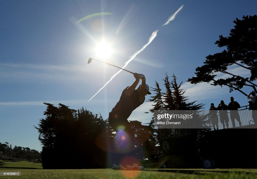 Jon Rahm of Spain plays his shot from the fourth tee during Round Two of the AT&T Pebble Beach Pro-Am at Pebble Beach Golf Links on February 9, 2018 in Pebble Beach, California.