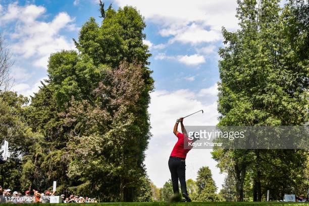 Jon Rahm of Spain plays his shot from the seventh tee during the third round of the World Golf Championships - Mexico Championship at Club de Golf...