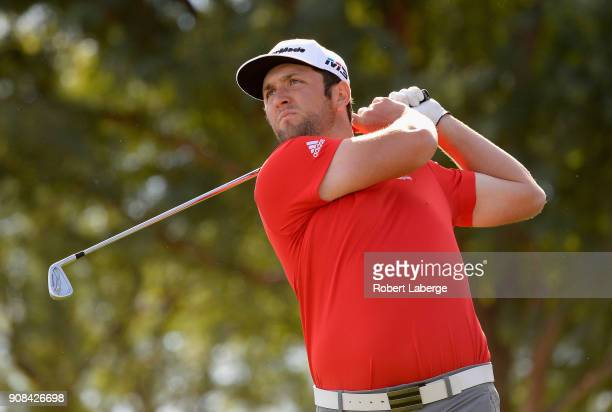 Jon Rahm of Spain plays his shot from the sixth tee during the final round of the CareerBuilder Challenge at the TPC Stadium Course at PGA West on...