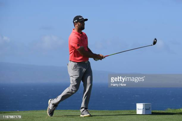 Jon Rahm of Spain plays his shot from the tenth tee during the final round of the Sentry Tournament Of Champions at the Kapalua Plantation Course on...