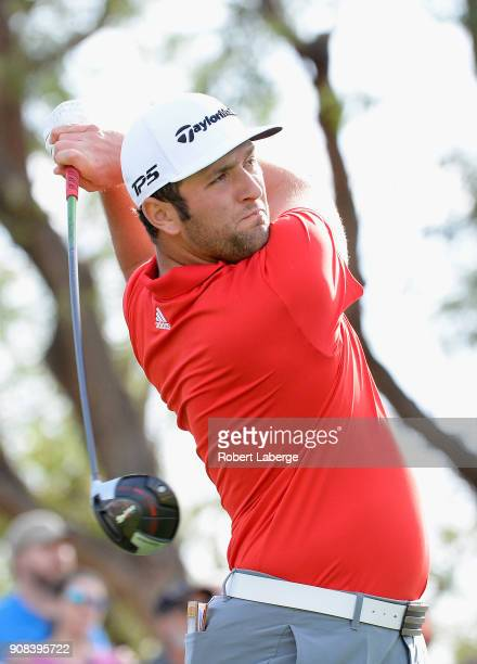Jon Rahm of Spain plays his shot from the third tee during the final round of the CareerBuilder Challenge at the TPC Stadium Course at PGA West on...