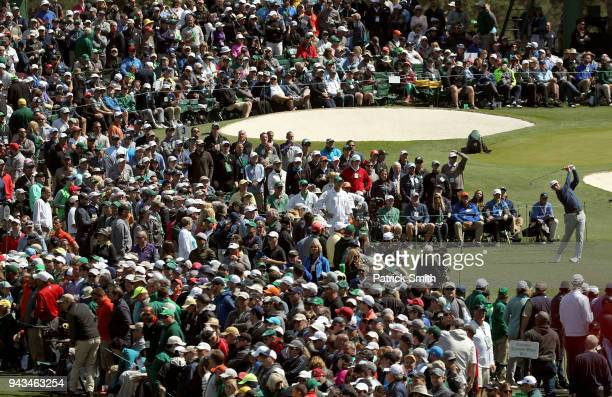 Jon Rahm of Spain plays his shot from the third tee during the final round of the 2018 Masters Tournament at Augusta National Golf Club on April 8...