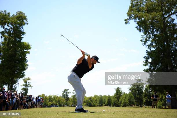 Jon Rahm of Spain plays his shot from the third tee during the first round of the Zurich Classic of New Orleans at TPC Louisiana on April 22, 2021 in...