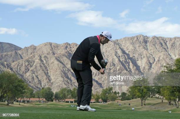 Jon Rahm of Spain plays his shot from the third tee during the second round of the CareerBuilder Challenge at the TPC Stadium Course at PGA West on...