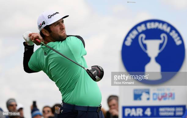 Jon Rahm of Spain plays his shot of the 6th tee during day two of the Open de Espana at Centro Nacional de Golf on April 13 2018 in Madrid Spain