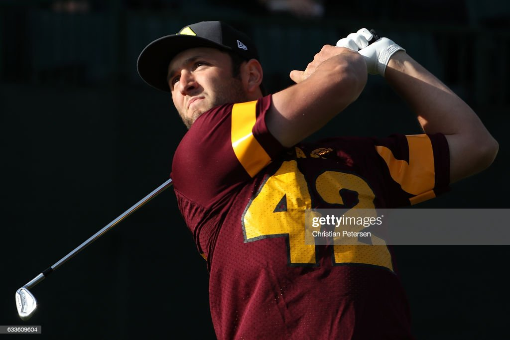 Jon Rahm of Spain plays his tee shot on the 16th hole during the first round of the Waste Management Phoenix Open at TPC Scottsdale on February 2, 2017 in Scottsdale, Arizona.