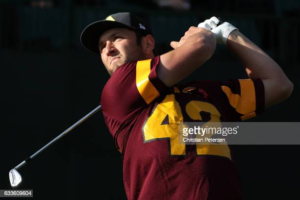 Jon Rahm of Spain plays his tee shot on the 16th hole during the first round of the Waste Management Phoenix Open at TPC Scottsdale on February 2...