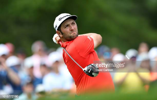Jon Rahm of Spain plays his tee shot on the fourth hole during the final round of the 100th PGA Championship at the Bellerive Country Club on August...