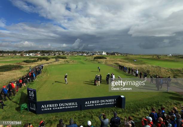 Jon Rahm of Spain plays his tee shot on the par 3, 16th hole during the first round of the Alfred Dunhill Links Championship at Carnoustie on...