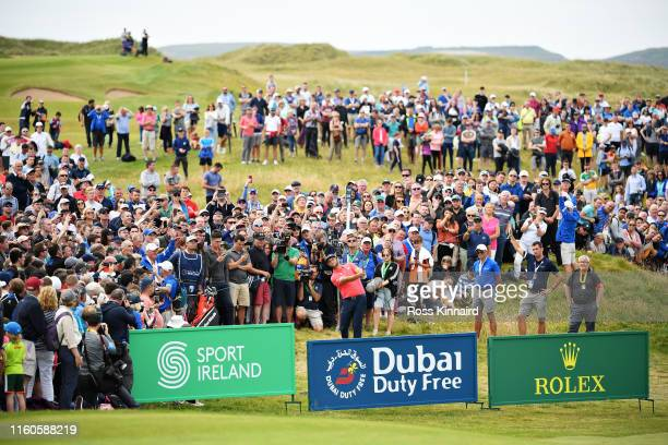 Jon Rahm of Spain plays his third shot from the rough on the eighteenth hole during Day Four of the Dubai Duty Free Irish Open at Lahinch Golf Club...