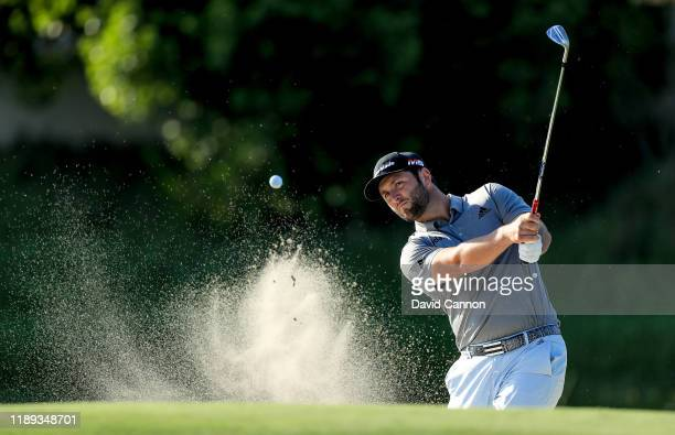 Jon Rahm of Spain plays his third shot on the 14th hole during the second round of the DP World Tour Championship on The Earth Course at Jumeirah...