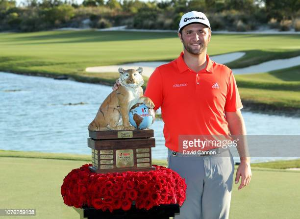 Jon Rahm of Spain poses with the trophy after his four shot win in the final round of the 2018 Hero World Challenge at Albany Bahamas on December 02...