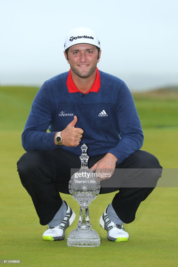 Jon Rahm of Spain poses with the trophy after his victory during the final round of the Dubai Duty Free Irish Open at Portstewart Golf Club on July 9, 2017 in Londonderry, Northern Ireland.