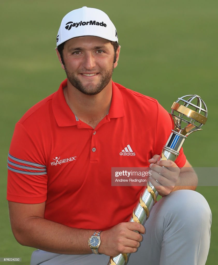 Jon Rahm of Spain poses with the trophy after winning the DP World Tour Championship at Jumeirah Golf Estates on November 19, 2017 in Dubai, United Arab Emirates.