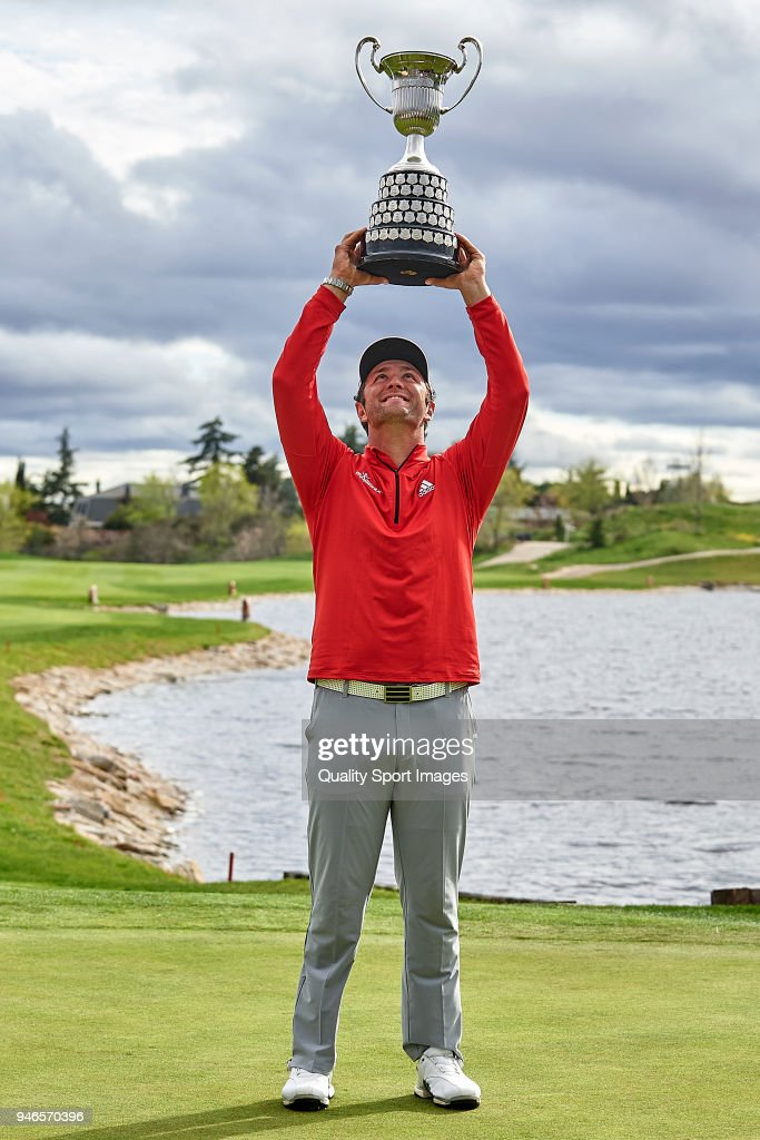 Jon Rahm of Spain poses with the trophy after winning the Open de Espana during day four of Open de Espana at Centro Nacional de Golf on April 15, 2018 in Madrid, Spain.