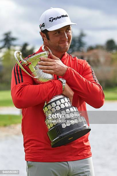 Jon Rahm of Spain poses with the trophy after winning the Open de Espana during day four of Open de Espana at Centro Nacional de Golf on April 15...
