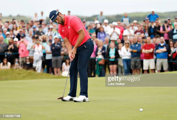 Jon Rahm of Spain putts for a birdie on the seventeenth hole during Day Four of the Dubai Duty Free Irish Open at Lahinch Golf Club on July 07 2019...