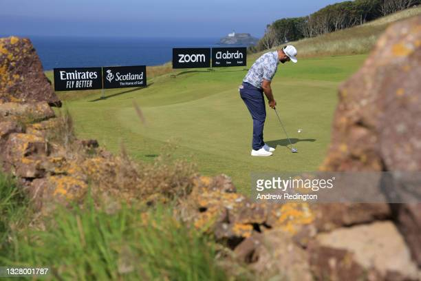 Jon Rahm of Spain putts on the 14th green during Day Three of the abrdn Scottish Open at The Renaissance Club on July 10, 2021 in North Berwick,...