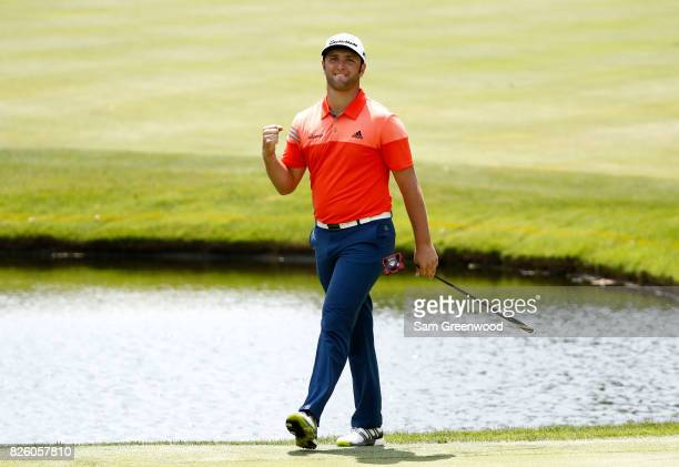 Jon Rahm of Spain reacts after an eagle on the 16th hole during the first round of the World Golf Championships - Bridgestone Invitational at...