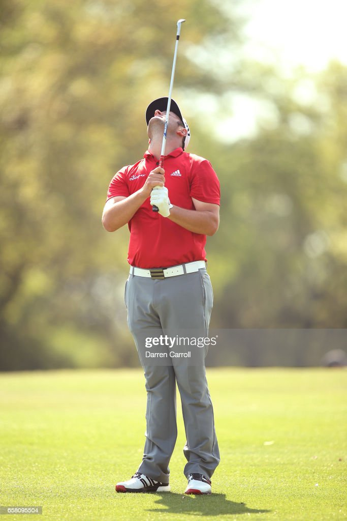 Jon Rahm of Spain reacts after missing a putt on the 10th hole during the final match of the World Golf Championships-Dell Technologies Match Play at the Austin Country Club on March 26, 2017 in Austin, Texas.