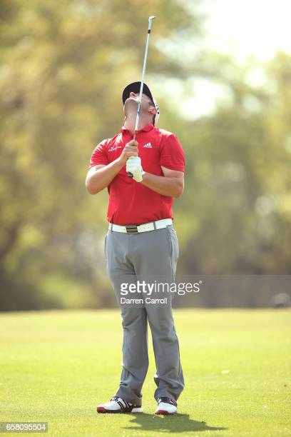 Jon Rahm of Spain reacts after missing a putt on the 10th hole during the final match of the World Golf Championships-Dell Technologies Match Play at...