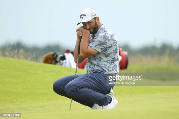 Jon Rahm of Spain reacts after missing a putt on the 17th green during Day Three of the abrdn Scottish Open at The Renaissance Club on July 10, 2021...