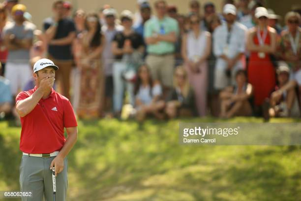 Jon Rahm of Spain reacts after missing a putt on the 7th hole during the final match of the World Golf Championships-Dell Technologies Match Play at...