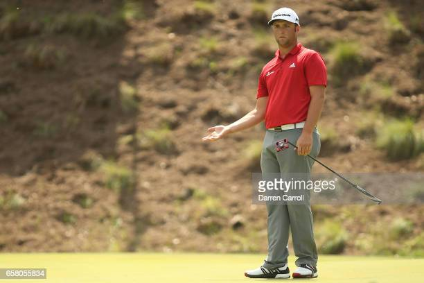 Jon Rahm of Spain reacts after putting on the 4th hole during the final match of the World Golf Championships-Dell Technologies Match Play at the...