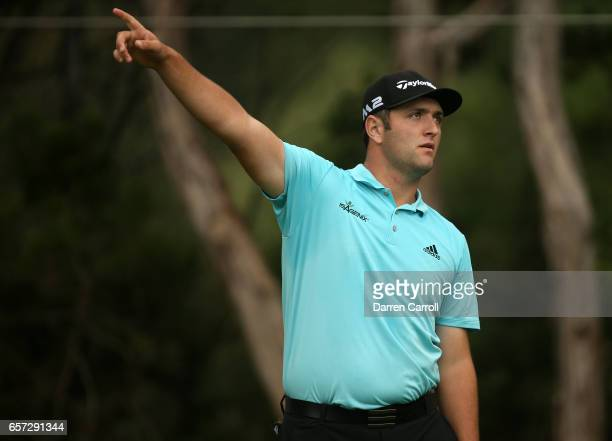 Jon Rahm of Spain reacts after teeing off on the 2nd hole of his match during round three of the World Golf ChampionshipsDell Technologies Match Play...