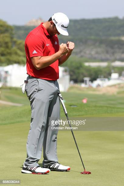 Jon Rahm of Spain reacts after winning his match against Bill Haas 32 on the 16th hole during the semifinals of the World Golf ChampionshipsDell...