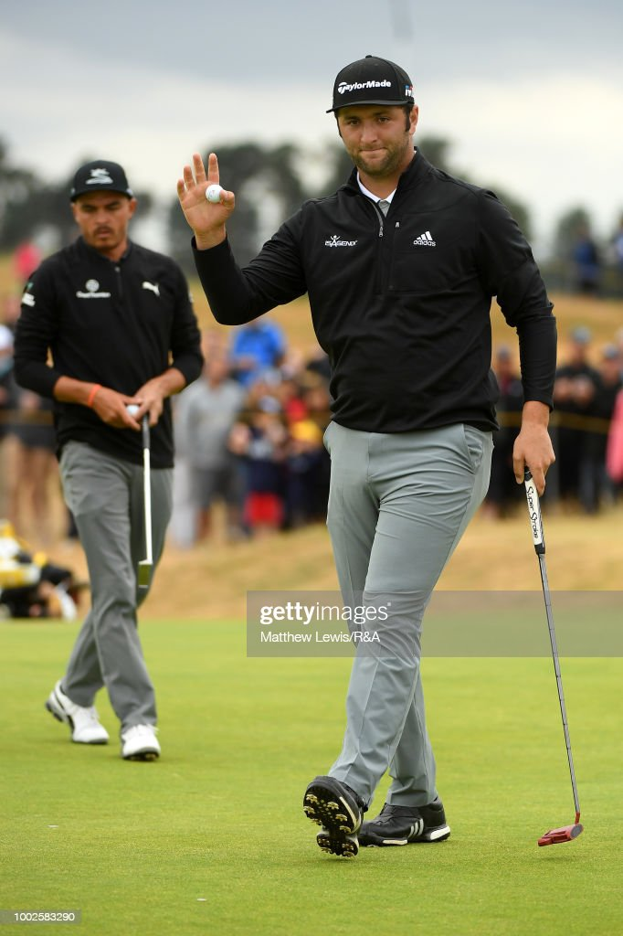 Jon Rahm of Spain reacts as he birdies the 3rd hole during round two of the Open Championship at Carnoustie Golf Club on July 20, 2018 in Carnoustie, Scotland.