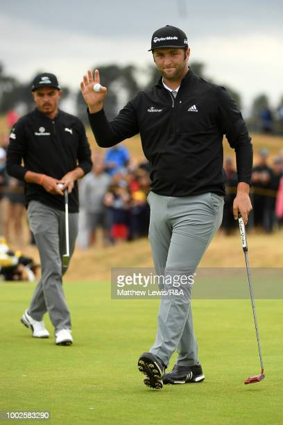 Jon Rahm of Spain reacts as he birdies the 3rd hole during round two of the Open Championship at Carnoustie Golf Club on July 20 2018 in Carnoustie...