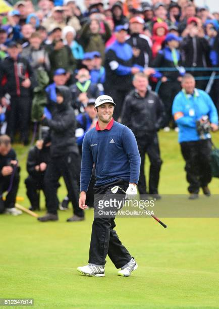 Jon Rahm of Spain reacts as he chips towards the 18th green during the final round of the Dubai Duty Free Irish Open hosted by the Rory Foundation at...