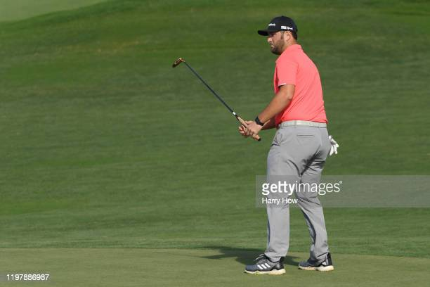 Jon Rahm of Spain reacts on the 12th green during the final round of the Sentry Tournament Of Champions at the Kapalua Plantation Course on January...