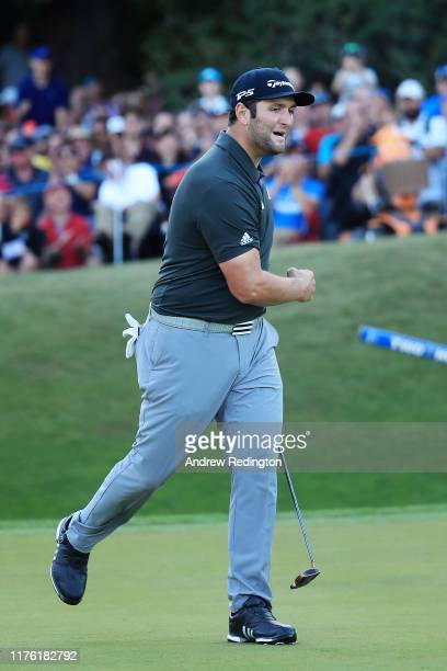 Jon Rahm of Spain reacts on the 18th green during Day Three of the BMW PGA Championship at Wentworth Golf Club on September 21, 2019 in Virginia...