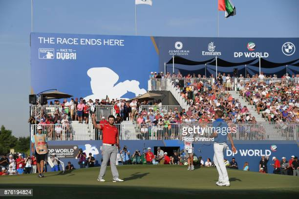 Jon Rahm of Spain reacts on the 18th green during the final round of the DP World Tour Championship at Jumeirah Golf Estates on November 19 2017 in...