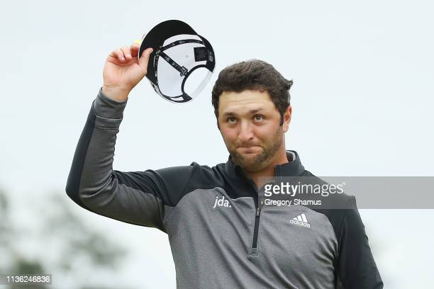 Jon Rahm of Spain reacts on the 18th green during the third round of The PLAYERS Championship on The Stadium Course at TPC Sawgrass on March 16 2019...