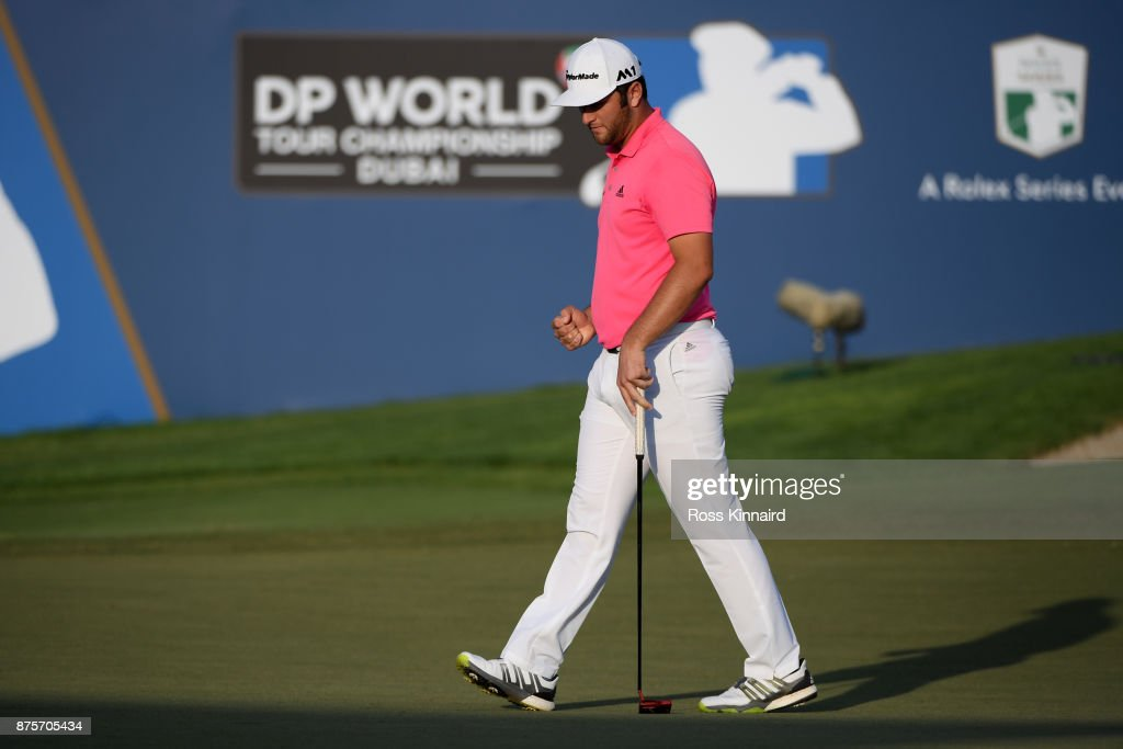 Jon Rahm of Spain reacts on the 18th green during the third round of the DP World Tour Championship at Jumeirah Golf Estates on November 18, 2017 in Dubai, United Arab Emirates.