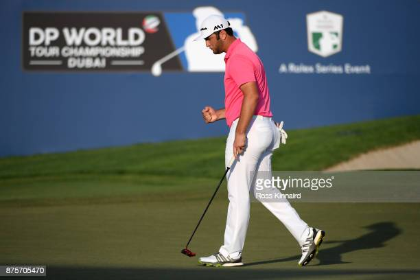 Jon Rahm of Spain reacts on the 18th green during the third round of the DP World Tour Championship at Jumeirah Golf Estates on November 18 2017 in...