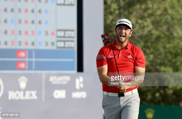 Jon Rahm of Spain reacts on the 18th green on his way to a one shot victory during the final round of the 2017 DP World Tour Championship on the...
