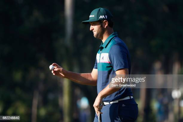 Jon Rahm of Spain reacts on the tenth green during the second round of THE PLAYERS Championship at the Stadium course at TPC Sawgrass on May 12, 2017...