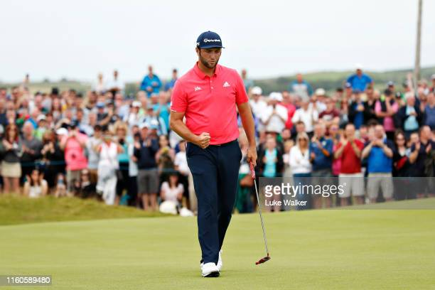 Jon Rahm of Spain reacts to his birdie putt on the seventeenth hole during Day Four of the Dubai Duty Free Irish Open at Lahinch Golf Club on July 07...