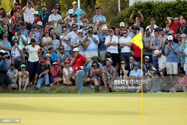 Jon Rahm of Spain reacts to his chip shot on the 18th hole during the final match of the World Golf Championships-Dell Technologies Match Play at the...