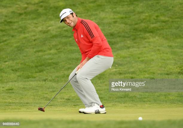 Jon Rahm of Spain reacts to his eagle attempt on the 18th hole during Day Four of the Open de Espana at Centro Nacional de Golf on April 15 2018 in...