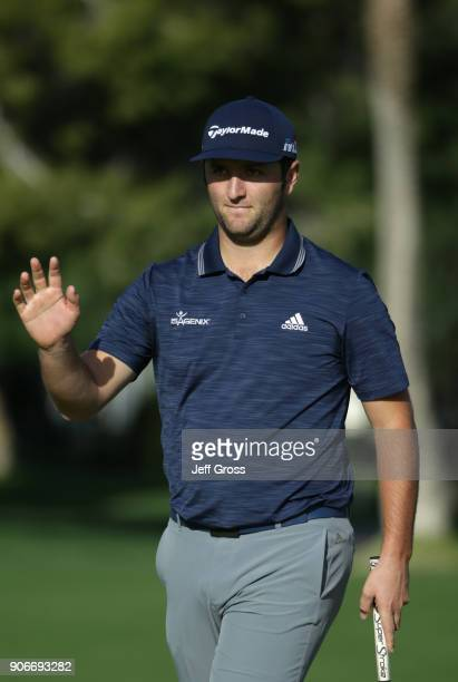 Jon Rahm of Spain reacts to his putt during the first round of the CareerBuilder Challenge at La Quinta Country Club on January 18 2018 in La Quinta...