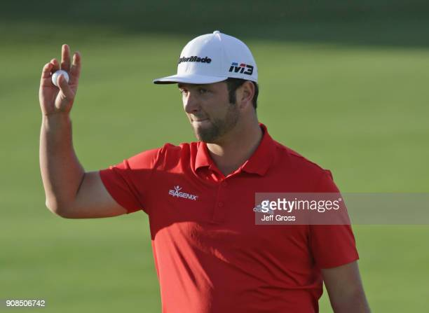 Jon Rahm of Spain reacts to his putt on the 18th hole during the final round of the CareerBuilder Challenge at the TPC Stadium Course at PGA West on...
